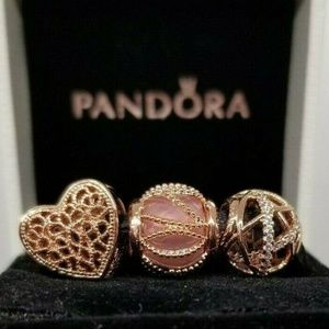 3 Pandora Rose Gold Heart Charms galaxy Radiance